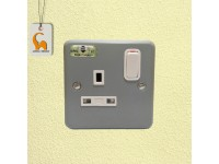 MK Grey 1 Gang Steel Metal Clad Switched Power Socket 13A LittleThingy