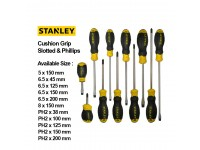 Stanley Slotted / Phillips Screwdriver Cushion Grip Screw Drivers With Various Sizes LittleThingy