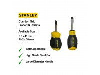 Stanley 6.5 x 45mm Slotted / PH2 x 38mm Phillips Screwdriver Cushion Grip Screw Drivers With Various Sizes