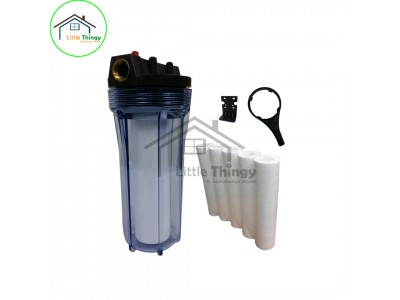 "Water Filter With 5 Piece 10"" Micron PP Fibre Replacement Catridges (Outdoor / Kitchen / Office) LittleThingy"