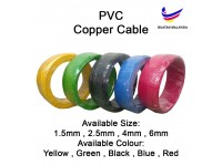 2.5mm PVC Cable 100% Pure Copper Cable Electrical Wire - 100Meters Per Roll Wire Electrik LittleThingy