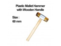 60mm (Yellow) Plastic Mallet Hammer with Wooden Handle LittleThingy