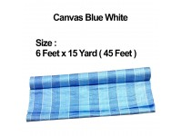 6 Feet x 15 Yard (45 Feet / 13 Meters) Canvas Roll PE Tarpaulin Blue White Construction Renovation Floor Cover Canopy Tent Side Wall Shield