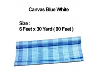 6 Feet x 30 Yard (90 Feet / 26 Meters) Canvas Roll PE Tarpaulin Blue White Construction Renovation Floor Cover Canopy Tent Side Wall Shield