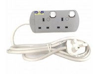 2 Gang / Point Trailing Switch UMS Extension Socket with Neon Light (Sirim Approved) LittleThingy