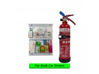 1Kg Fire Extinguisher Flammart Sirim Puspakom Ready Year 2019 Production And First Aid Kit For Grab Car Drivers Pemadam Api Set Untuk Kereta Grab LittleThingy