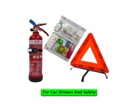 1Kg Fire Extinguisher Year 2020 Flammart ABC Dry Powder Sirim Puspakom Ready  & First Aid Kit & Safety Triangle For Vehicle Grab Car Taxi Drivers Pemadam Api Set Untuk Kereta Grab LittleThingy