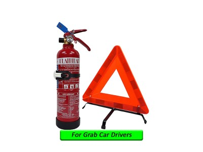 Grab Car 1Kg Fire Extinguisher Year 2020 Production Flammart Sirim Puspakom Ready And Reflective Triangle Road Warning Sign For Grab Car Drivers Taxi Vehicle Pemadam Api Set Untuk Kereta Grab LittleThingy