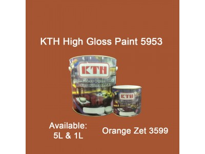 KTH 5L Orange Zet 3599 High Gloss Paint Indoor & Outdoor For Wood And Metal Surface Cat Kilat untuk Besi Dan Kayu LittleThingy