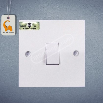 UMS 1 Gang 1 Way Flush Switch 10A (SIRIM Approved) UMS 201