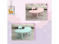 Kids Study Table with Adjustable Height Moon Shape Kindergarten for Children Meja Belajar Kanak-Kanak