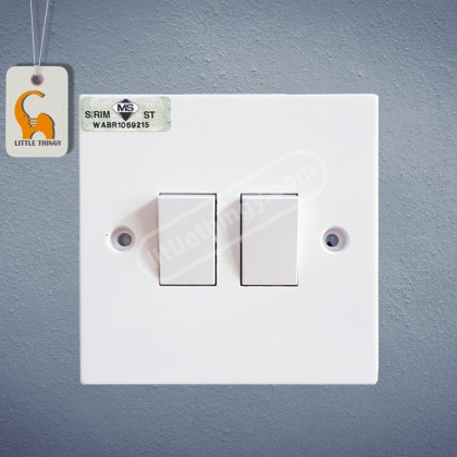 UMS 2 Gang 1 Way Flush Switch 10A (SIRIM Approved) UMS 202