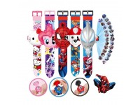Kids Projector Watch Ultraman Spiderman Frozen Paw Patrol Mickey Mouse Avenger Hello Kitty Snow White Princess Iron Man Cartoon Watch 24 Images Projection