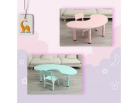 Kids Study Table And Chair with Adjustable Height Moon Shape Table Kindergarten for Children Kerusi Meja Kanak-Kanak