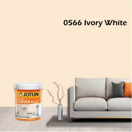 0566 Ivory White 5L Jotun Essence Cover Plus Matt Colour Interior Wall Paint Easy Wash Cat Dinding Dalaman Senang Dicuci