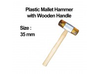 35mm (Yellow) Plastic Mallet Hammer with Wooden Handle Penukul Plastik LittleThingy