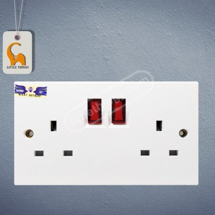 UMS 2 Gang Switch Socket Outlet 13A Flush Neon (SIRIM Approved)