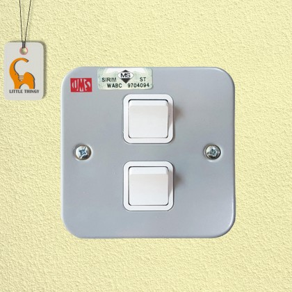 UMS 2 Gang 1 Way Metal Clad Socket Switch (SIRIM Approved) 221-1W