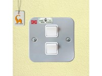 UMS 2 Gang 1 Way Metal Clad Socket Switch (SIRIM Approved) 221-1W LittleThingy
