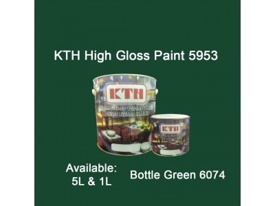 KTH 5L Bottle Green 6074 High Gloss Paint Indoor & Outdoor For Wood And Metal Surface Cat Kilat untuk Besi Dan Kayu LittleThingy