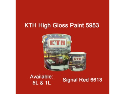 KTH 5L Signal Red 6613 High Gloss Paint Indoor & Outdoor For Wood And Metal Surface Cat Kilat untuk Besi Dan Kayu LittleThingy