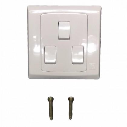 MK 3 Gang 1 Way Flush Switch (Sirim Approved) MK-S8873